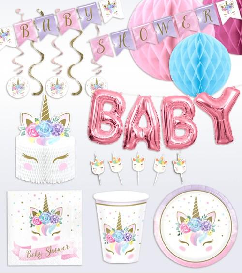 "Babyparty Deko-Set ""Unicorn"" - 48-teilig"