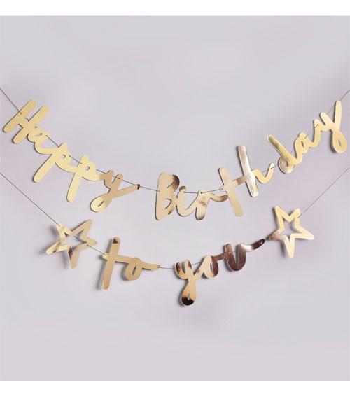 Happy Birthday to you-Girlande - metallic gold - 2-teilig