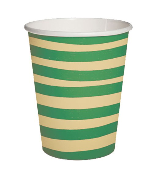 """Pappbecher """"Brush Strokes"""" - beige & grün - 10 Stück"""