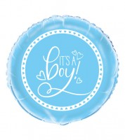 "Runder Folienballon ""Baby Shower - blau"" - 45 cm"