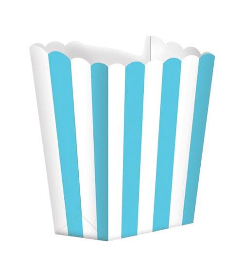 Popcornboxen mit Streifen - türkisblau - 5 Stück