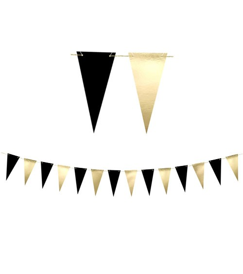 DIY-Wimpelgirlande - schwarz/metallic gold - 2,15 m
