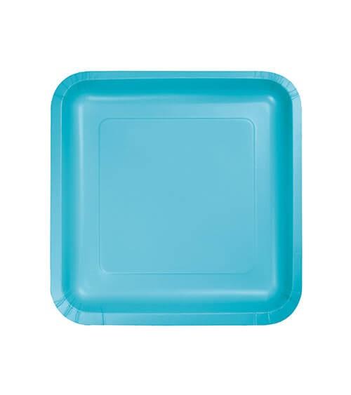 Kleine eckige Pappteller - bermuda blue 18 Stück