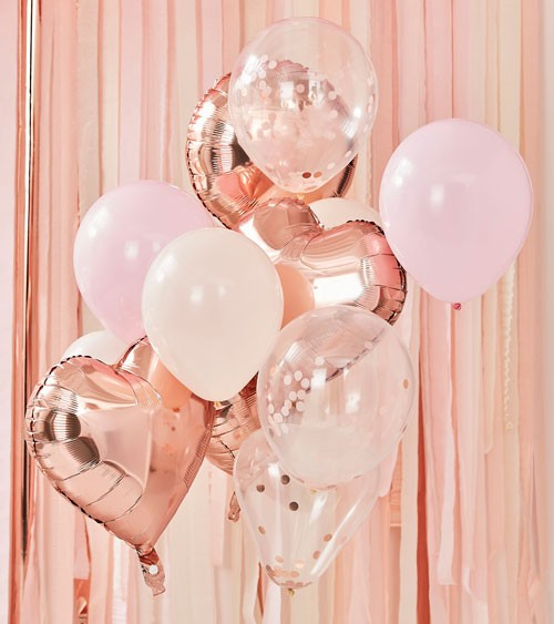 "Ballon-Set ""Mix it up"" - rosegold & rosa - 12-teilig"