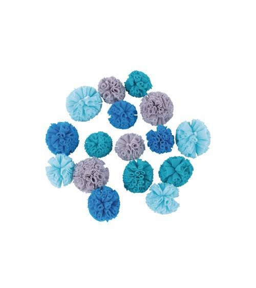 Soft-Tüll-Pompons - Farbmix blau - 2,5 und 3 cm - 16 Stück
