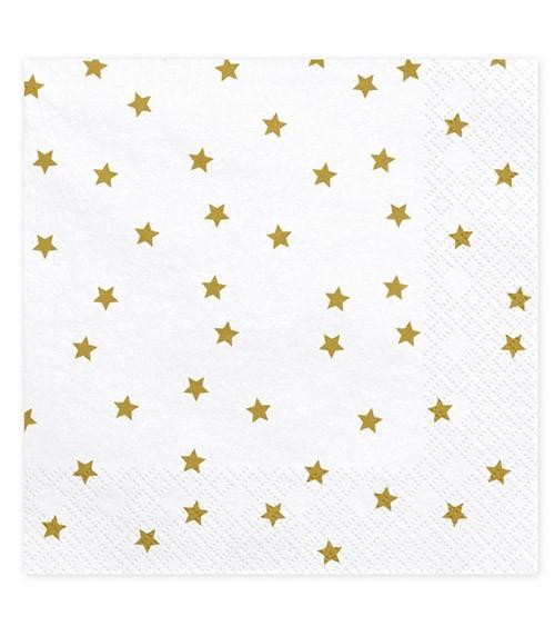 """Servietten """"Goldene Sterne"""" - weiß - 20 Stück"""