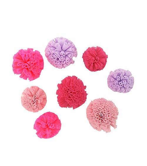 Soft-Tüll-Pompons - Farbmix pink - 4 und 5 cm - 8 Stück