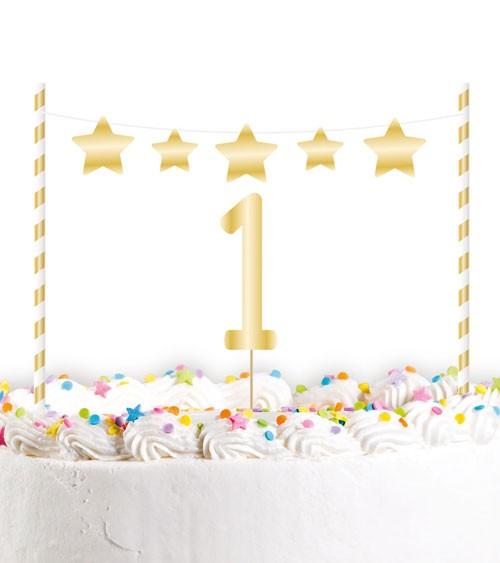 """Kuchendekoration """"1st Birthday"""" - gold - 2-teilig"""