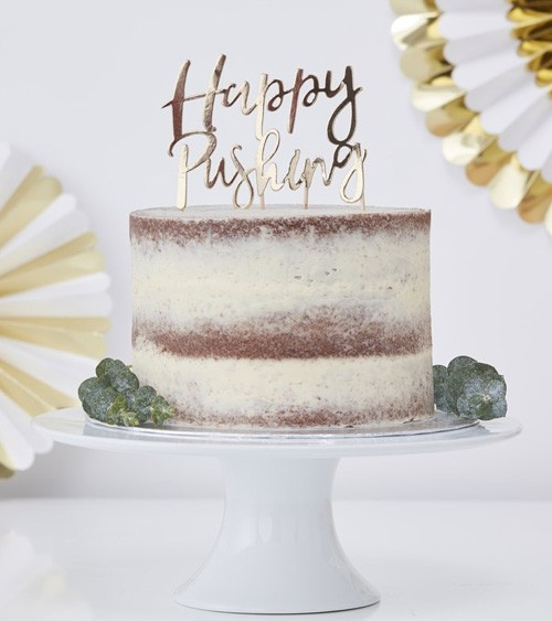 "Cake-Topper ""Happy Pushing"" - gold metallic"