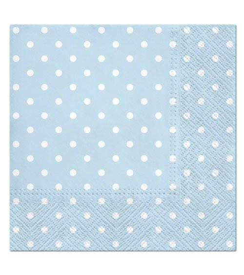 Servietten mit weißen Punkten - hellblau - 20 Stück
