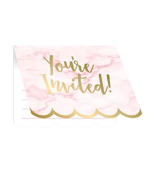 """Einladungskarten """"Marble"""" - rosa & gold - 8 Stück"""