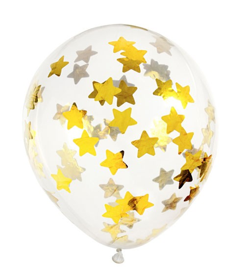 Transparente Ballons mit goldenem Stern-Konfetti - 6 Stück