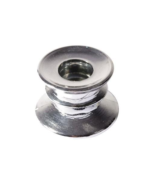 Stabkerzenhalter aus Glas - chrome silber - 4 cm