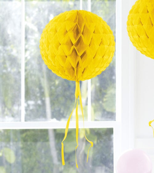 Wabenball mit Tasseln - 30 cm - gelb