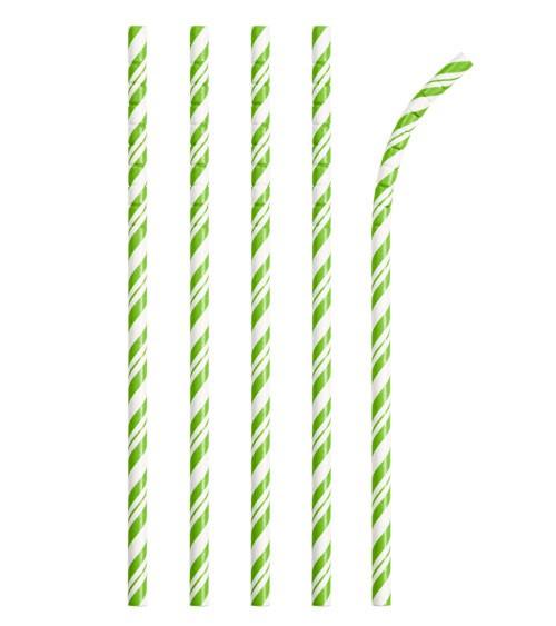 Flexible Papierstrohhalme mit Streifen - fresh lime - 24 Stück