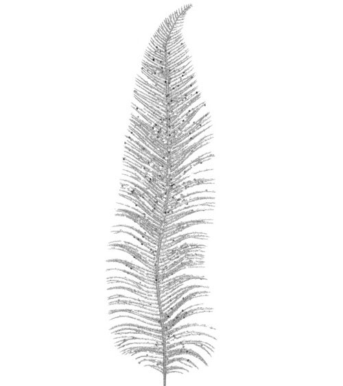 Deko-Blatt mit Glitter - silber - 12,5 x 48 cm