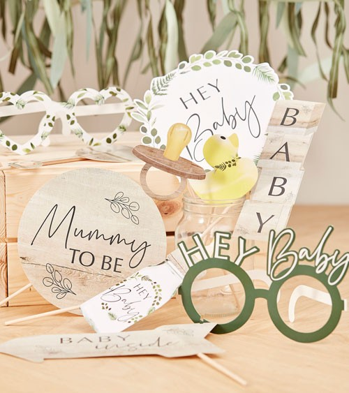 "Photobooth Props ""Botanical Baby Shower"" - 10-teilig"