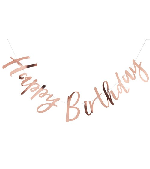 Happy Birthday-Girlande - rosegold - 1,5 m