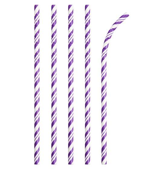 Flexible Papierstrohhalme mit Streifen - lila - 24 Stück