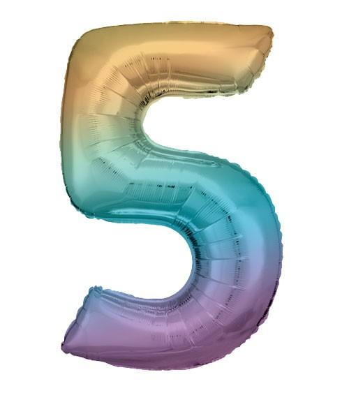 "Supershape-Folienballon ""5"" - Rainbow - 83 cm"