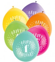 "Luftballon-Set ""Happy 1st Birthday"" - bunt - 23 cm - 10 Stück"