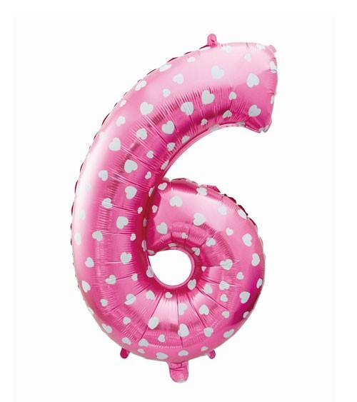 "Folienballon Zahl ""6"" - pink mit Herzen - 61 cm"