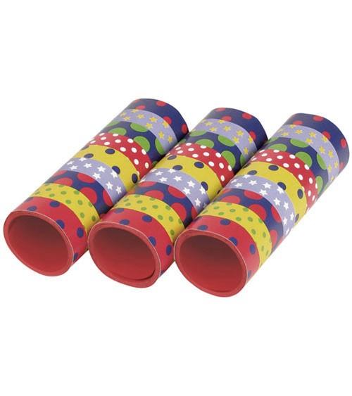 Papierluftschlangen mit Punkten und Sternen - 3 Stück