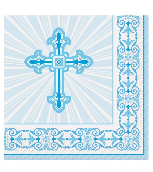 "Servietten ""Taufkreuz - powder blue"" - 16 Stück"