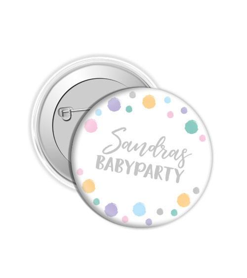 """Dein Button """"Babyparty"""" - Punkte Pastell"""