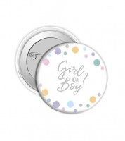 "Button ""Girl or Boy?"" - Punkte Pastell"