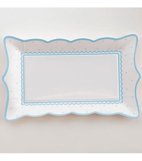 """Rechteckige Pappteller """"Petit Blue"""" - 4 Stück"""