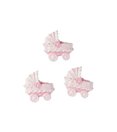 """Streuteile """"Kinderwagen"""" mit Klebepunkten - rosa - 2 cm - 4 Stück"""