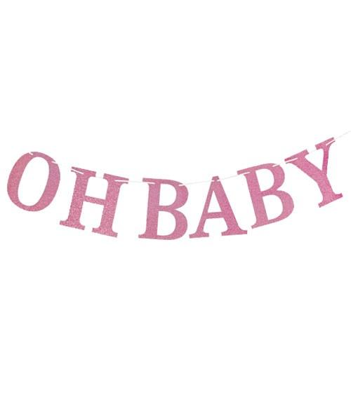 "DIY Girlande mit Glitzer ""Oh Baby"" - rosa - 3 m"