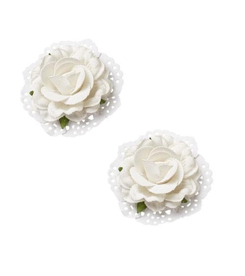 Rosen in Leinen-Optik - weiß - 6 cm - 2 Stück