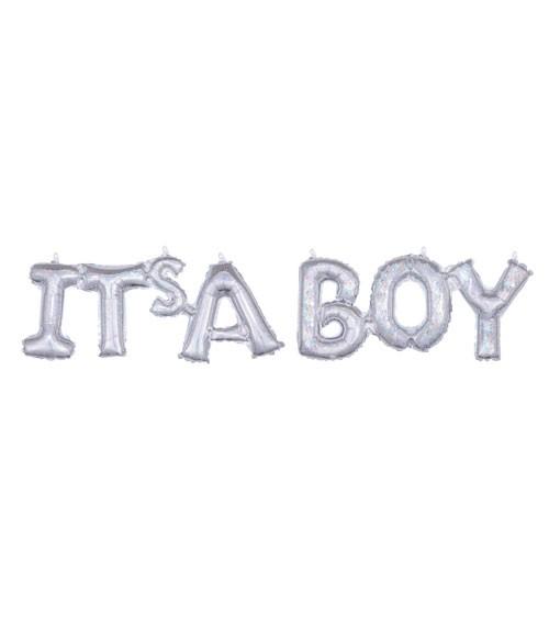 """Schriftzug-Folienballon """"It's a Boy"""" - holographic - 100 x 22 cm"""