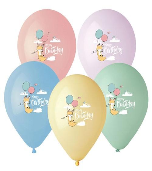 "Lufballon-Set mit Fuchs ""Happy Birthday"" - Farbmix Pastell - 5 Stück"