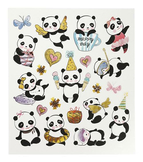 """Sticker """"Pandas"""" - mit Metallic-Effekt - 1 Bogen"""