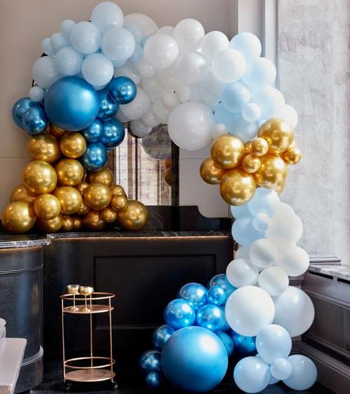 Deluxe Ballongirlanden-Set - Farbmix blau & gold - 200-teilig