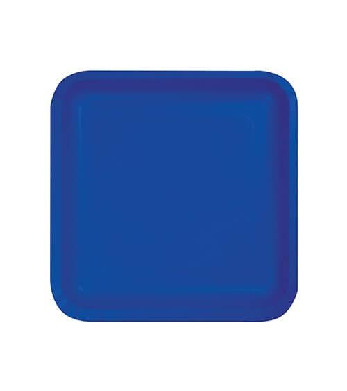 Kleine eckige Pappteller - kobaltblau - 18 Stück