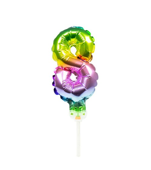"Mini-Zahl-Folienballon ""8""- rainbow - 13 cm"