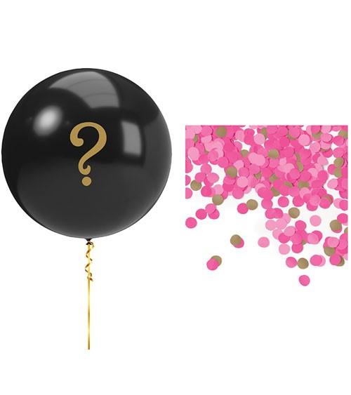 Gender Reveal Ballon-Set mit pinkem Konfetti - 6-teilig