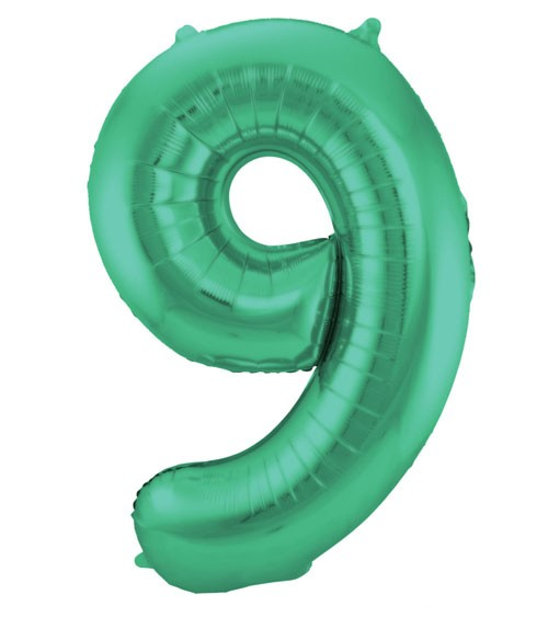 """Zahl-Folienballon """"9"""" - matt grün - 86 cm"""