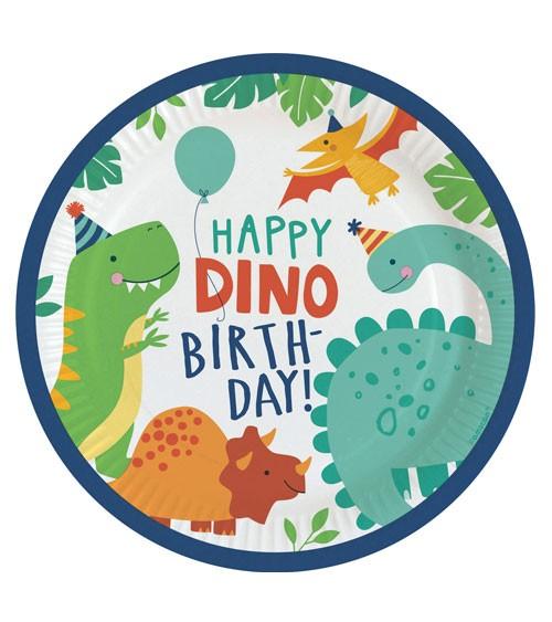 """Pappteller """"Happy Dino Birthday"""" - 8 Stück"""
