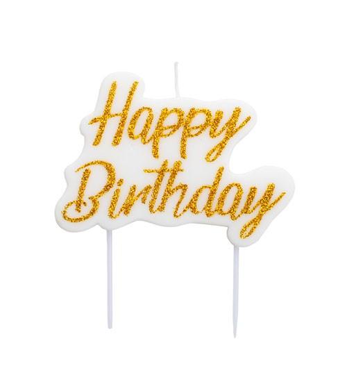 """Kuchenkerze """"Happy Birthday"""" - glitter gold - 9 x 6,5 cm"""