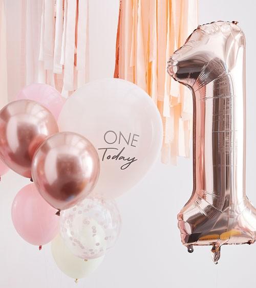 1. Geburtstag Ballon-Set mit Zahlenballon - rosa - 10-teilig