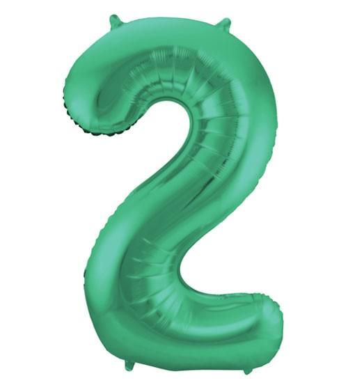 """Zahl-Folienballon """"2"""" - matt grün - 86 cm"""