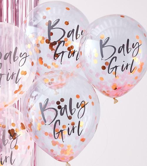 "Transparente Ballons mit Konfetti ""Baby Girl"" - 5 Stück"