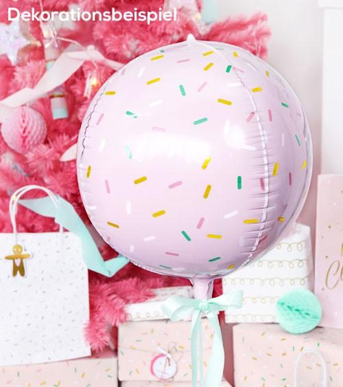 """Kugel-Folienballon """"Sprinkle"""" - rosa - 40 cm"""