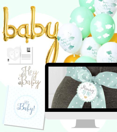 "Virtuelle Babyparty Set ""Mummy to be - mint"" - 17-teilig"