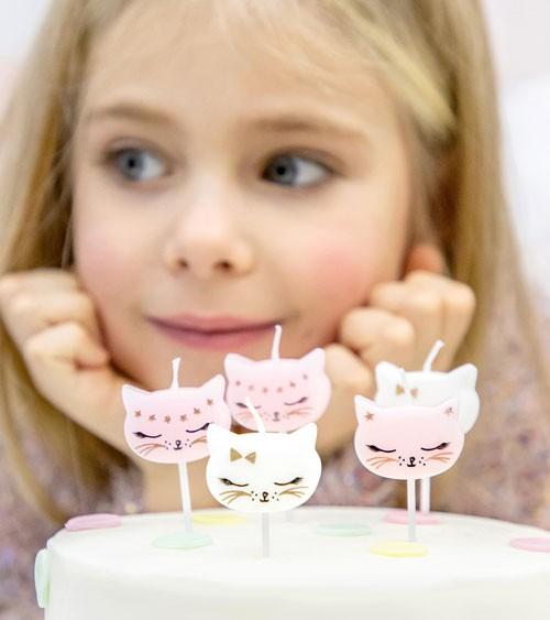 "Kuchenkerzen ""Katzen"" - rosa/weiß - 6 Stück"